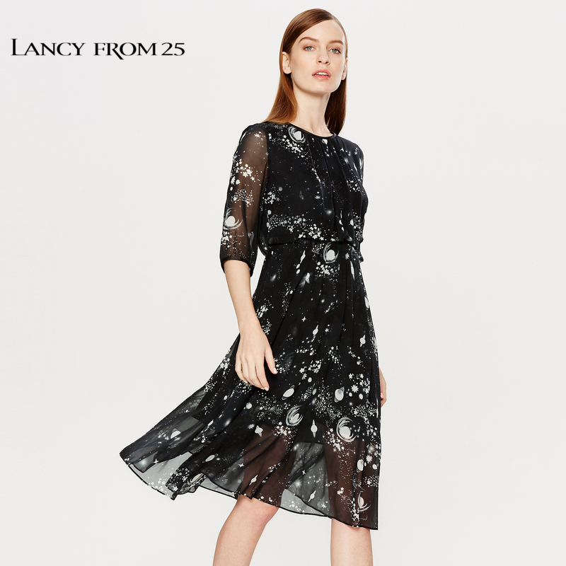 ffe07d31f31f2 Lancy 2018 summer new women's fashion waist print floral dress black silk  dress female skirt