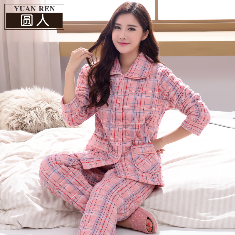 Plus cotton pajamas winter cotton padded thick warm thick middle-aged  mother Cotton three- 09e0dd998