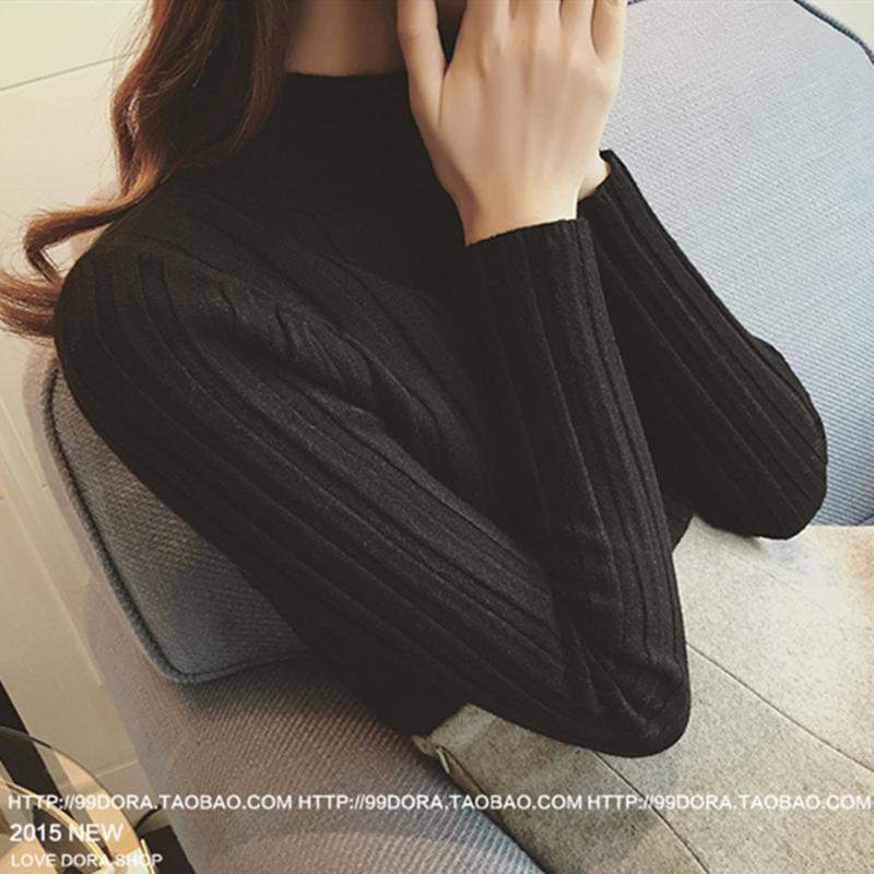 冬季新款上衣韩版套头半高领针织衫修身打底衫长袖短款时尚毛衣女