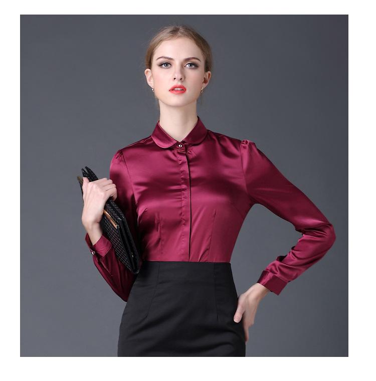 1de85aac7e6ee3 2017 Satin Shirt Women Long sleeve peter pan collar silk Blouses ...