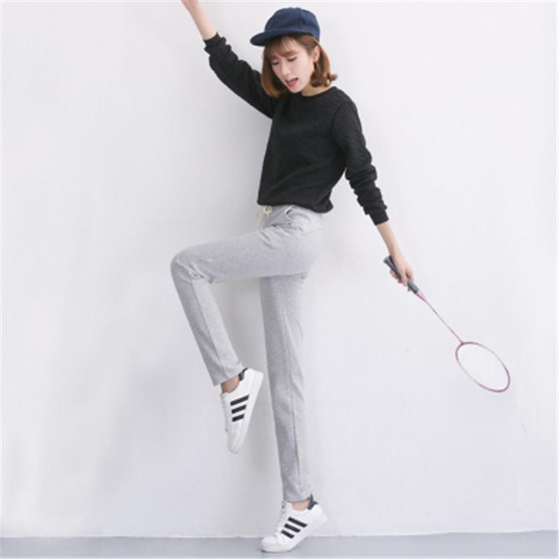 Mùa xuân và mùa thu Bảng chữ cái Hàn Quốc đồ ngủ của phụ nữ quần chân quần lỏng chạy thể thao quần thường mặc quần cotton nhà - Quần tây