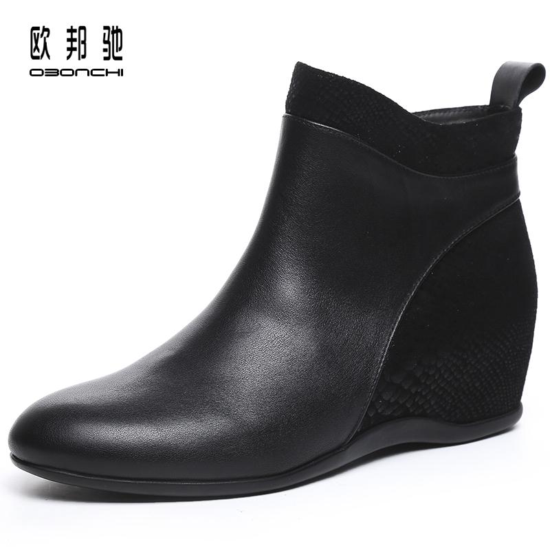 欧邦驰短靴2019年靴子新款内增高小女靴春秋单靴百搭厚软底皮真皮