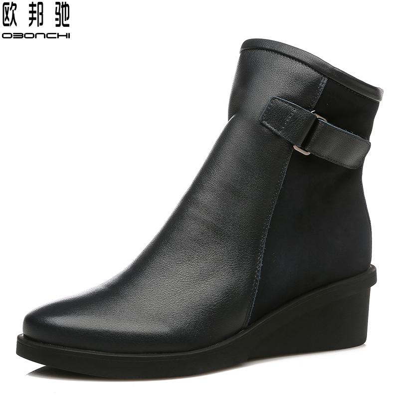 欧邦驰2019新款女士牛皮短靴春秋单款靴子妈妈坡跟厚底倒靴真皮鞋