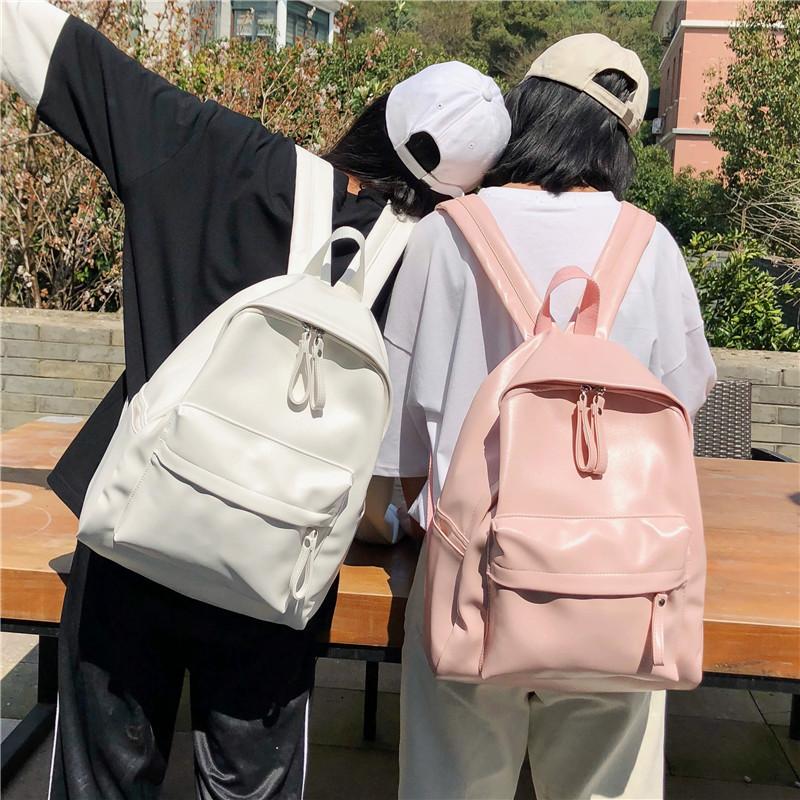 日版古着感少女书包校园韩版高中学生双肩包森系百搭PU皮纯色背包