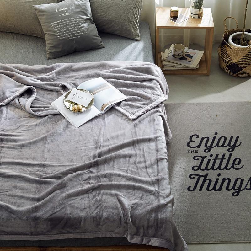 新品北欧400g紫貂绒法莱绒珊瑚绒加大床单纯色毛毯午睡加厚毯薄被