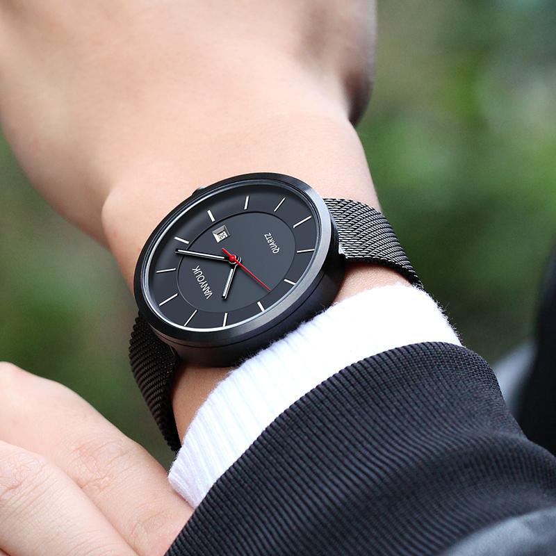 梵表男表时尚休闲学院学生防水石英表手表简约商务钢带皮带男士