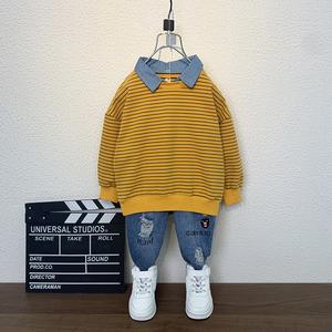 Quần áo bé trai 2020 phong cách mùa thu mới phong cách nước ngoài 2-8 tuổi 5 mùa xuân và mùa thu tay dài hai dây phù hợp với bé Hàn Quốc - Phù hợp với trẻ em