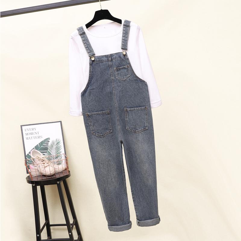 秋季新款九分牛仔背带裤女2018宽松韩版学生长袖T恤背带裤两件套