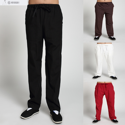Men Pure Cotton Old Coarse Cloth Casual Pants, Kungfu Tai Chi Morning Exercise Straight Pants.