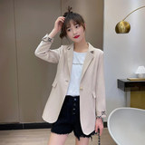 Black small suit jacket women short style 2021 spring and autumn new net red hot style fried street casual seven-point sleeve suit