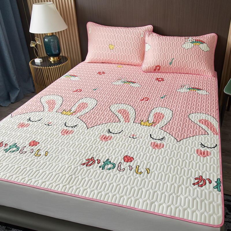 日式少女乳胶凉席三件套卡通夏季冰丝席1.5米床1.8m床空调软席子