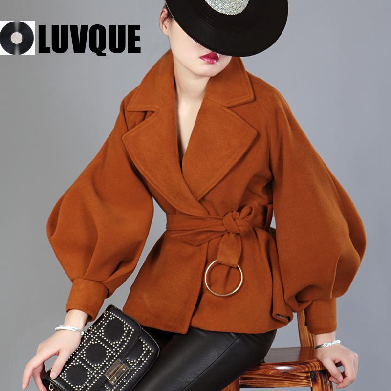 Caramel màu áo mùa thu và mùa đông nhỏ cao cao ve áo tie eo eo đèn lồng tay áo áo khoác nữ ngắn áo len