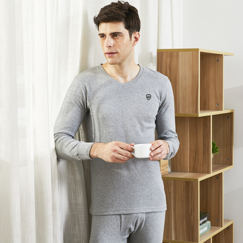 Pierre Dan men's cotton qiuyi qiuku suit Male Youth Winter v-neck base underwear thermal underwear cotton sweater