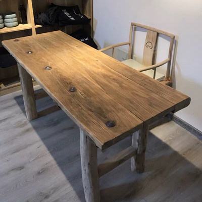 Old door board tea table old wooden table tea table solid wood desk retro original ecological old 榆木 台 table chair custom