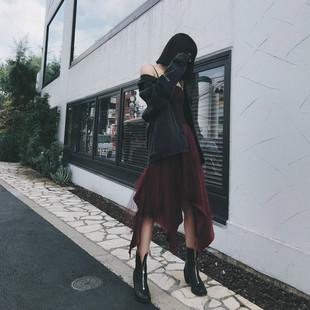 2018秋季不规则下摆a字吊带网纱裙子