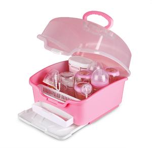 婴儿奶瓶干燥收纳箱大号便携式带盖防尘宝宝用品餐具储存盒晾干架
