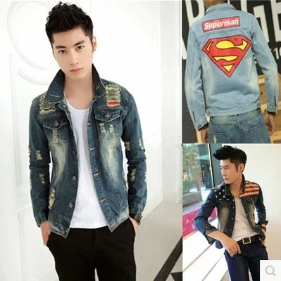 Denim jacket men spring and autumn Korean students trend men's jacket young people Slim casual gown clothes