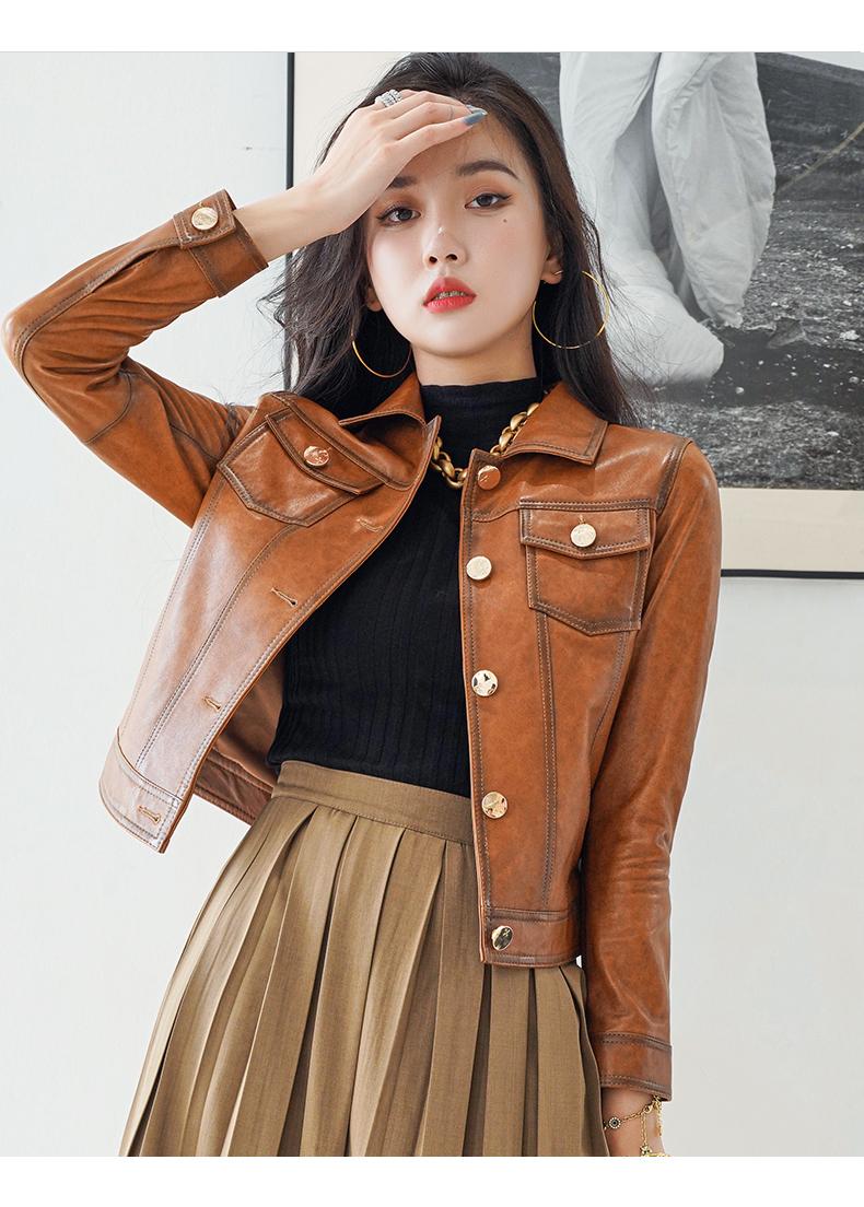 2020 new spring and autumn haining locomotive small leather jacket jacket women's short sheepskin trim 39 Online shopping Bangladesh