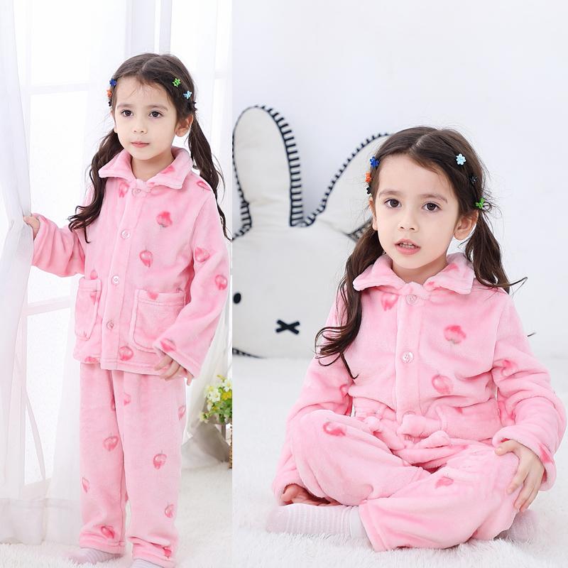 儿童睡衣法兰绒秋冬季女童宝宝男童家居服婴儿加厚保暖珊瑚绒套装