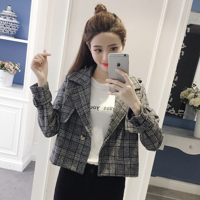 Every day special 2017 spring and autumn new Korean women loose small incense suit plaid coat woolen short jacket