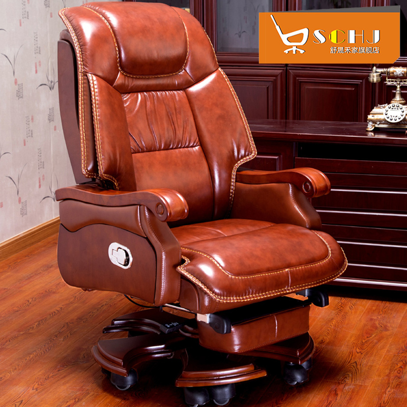 Original Straight For The Boss Chair Leather Office Chair Reclining Massage  Computer Chair Home Solid Wood