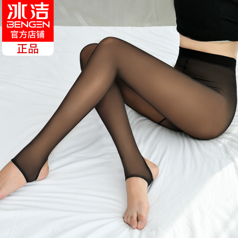 Ice clean fake through meat leggings women wear thin models outside the spring and autumn season large yards anti-hook silk was thin one step foot pants stockings