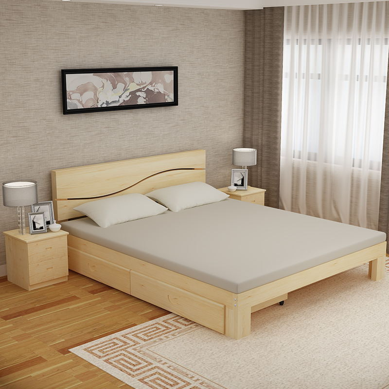 Solid Wood Bed 1 5 Double Bed 1 8 M Pine Modern Childrenu0027s Bed Simple Single