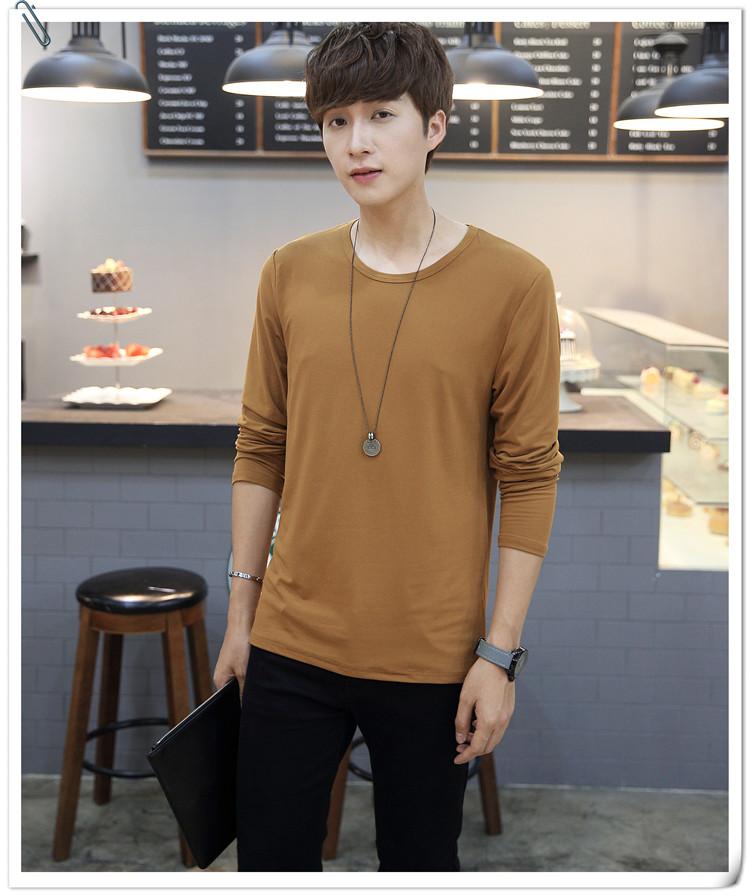 Nhà sản xuất màu rắn dài tay T-Shirt nam cổ tròn nhóm sinh viên hoạt động lớp dịch vụ tùy chỉnh XL slim áo sơ mi áo thun có cổ nam