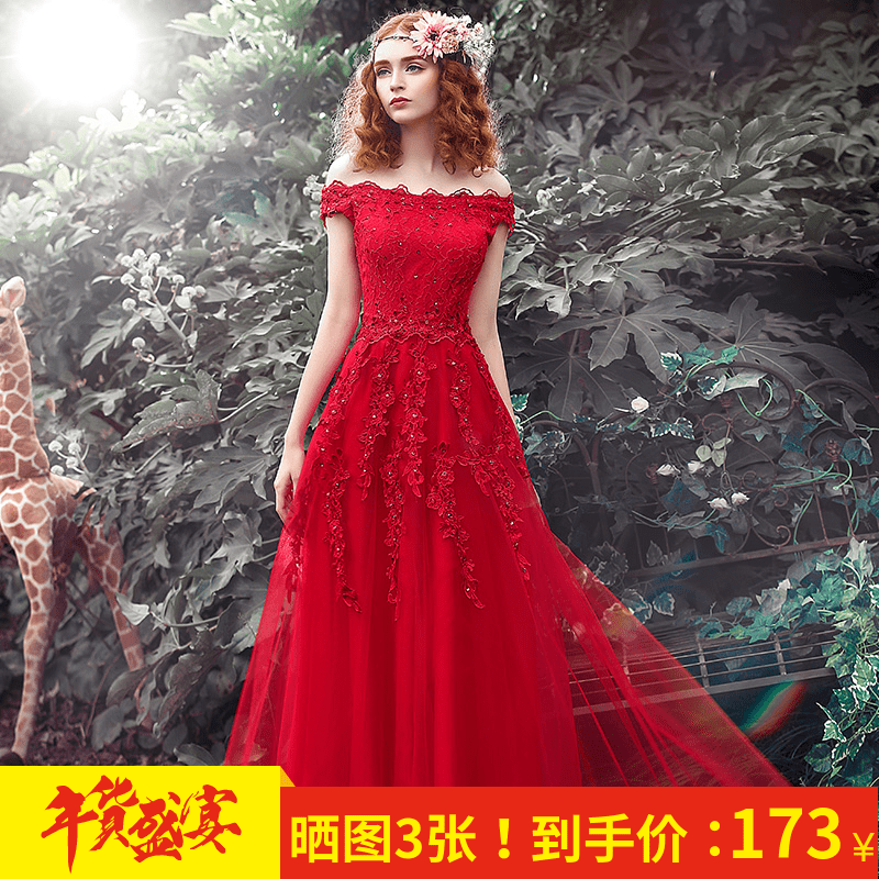 Party evening dress 2017 new dress woman dignified atmosphere wedding toast dress bride red long winter thicken