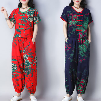 Summer wear new loose oversize ethnic style women's dress wide leg trousers casual suit short sleeve jacket cotton and linen two-piece set