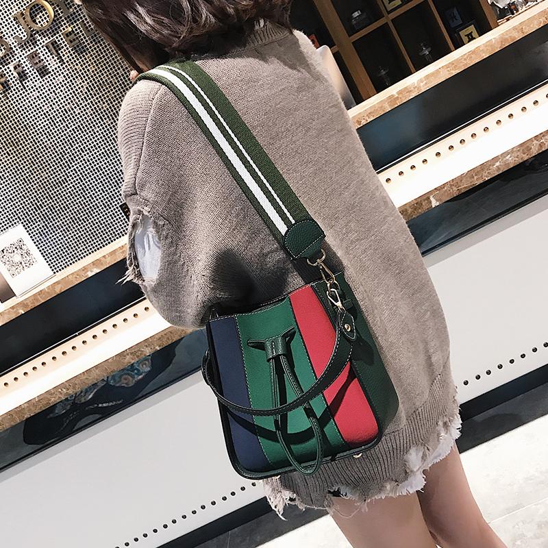 包包女2017新款潮百搭韩版撞色水桶包宽肩带子母包单肩手提斜挎包_淘东购