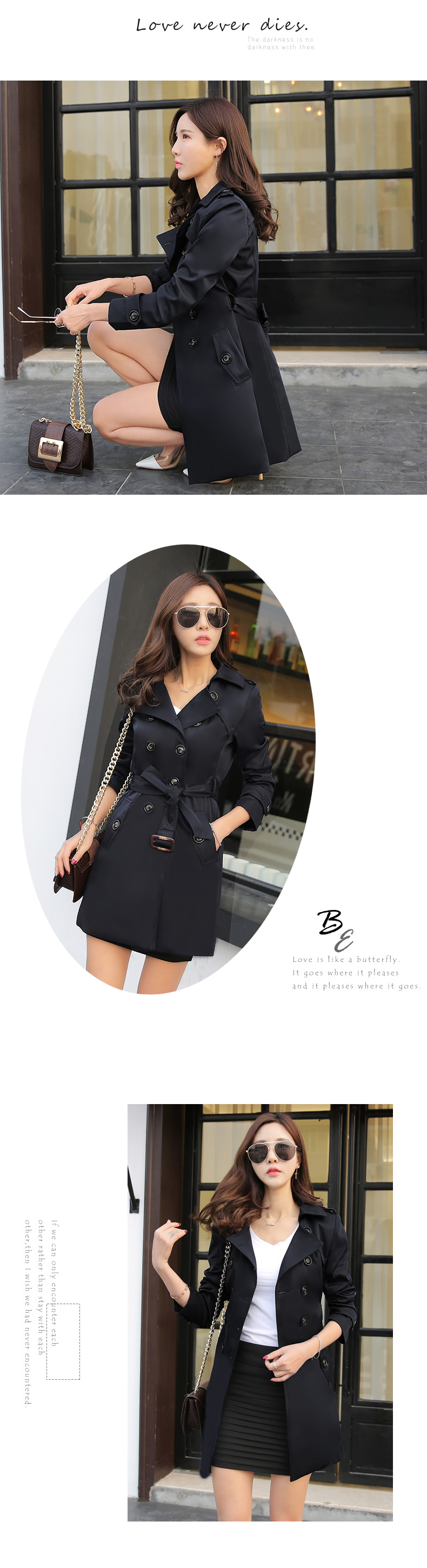 19 Autumn New Double Breasted Trench Coat Female High Quality Business Outerwear Woman Classic With Belt Long Trench Coat 10