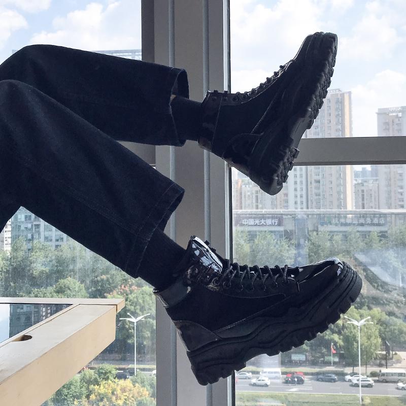 夏季老爹厚底内增高马丁靴男韩版潮流百搭学生工装靴黑色高帮皮靴