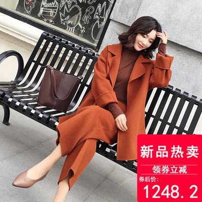 2018秋冬新款駝色時尚定制手工雙面零羊絨呢子大衣短款套裝女外套