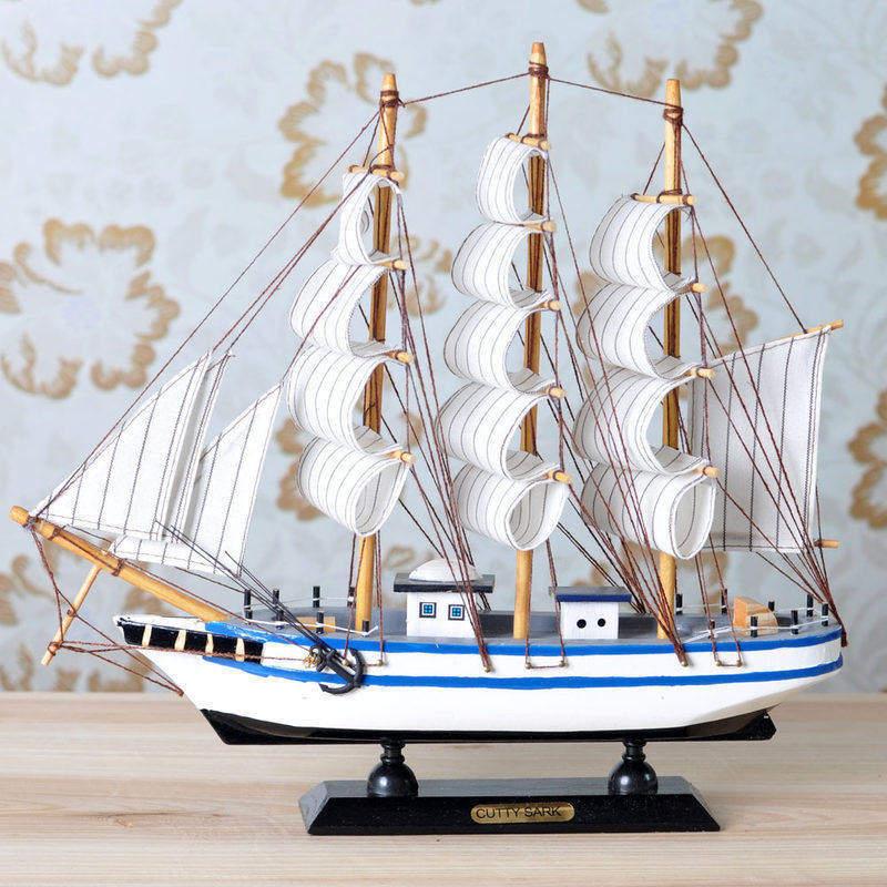 一帆风顺帆船工艺品摆件船模型地中海装饰品儿童房摆设木船小礼物