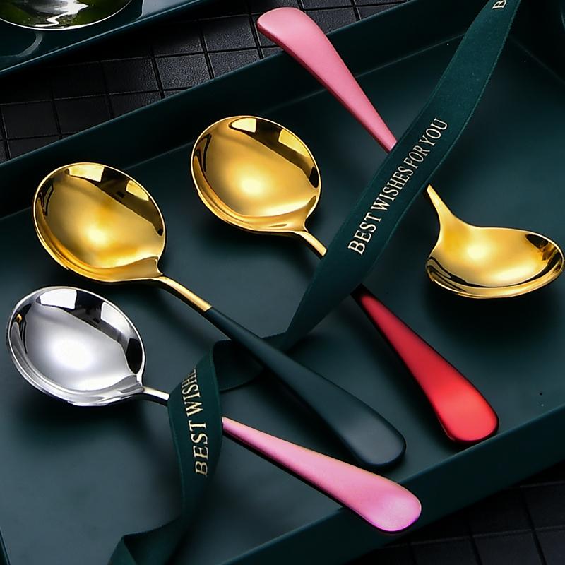 ⭐ 304不锈钢勺子家用大气长柄网红汤勺儿童调羹创意吃饭可爱汤匙