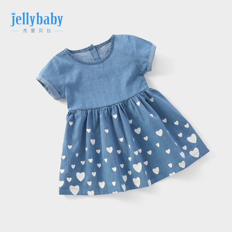 Baby denim skirt 1-3 years old female treasure princess skirt children summer dress baby short-sleeved summer 6 girls dress pure cotton