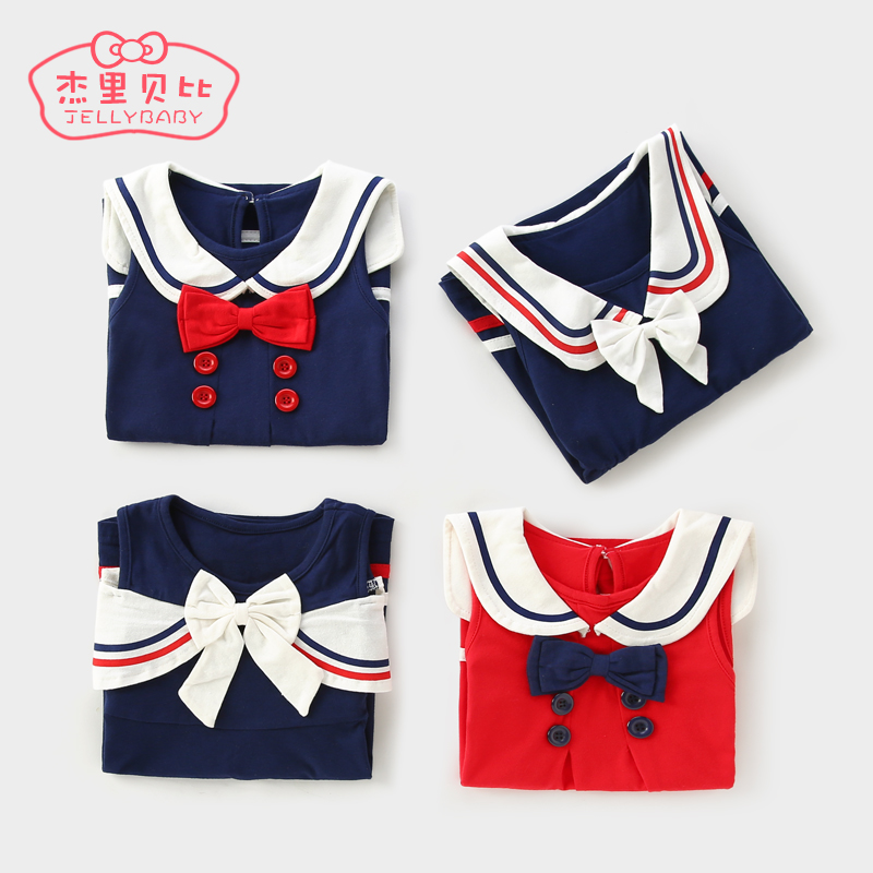 Female baby summer 0-3 one-year-old children princess dress baby Navy College wind skirt summer 6 girls dress