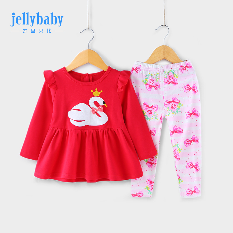 Baby red dress children two-piece set long sleeve girl girl autumn dress 0-1 years old 3 girls spring and autumn set.