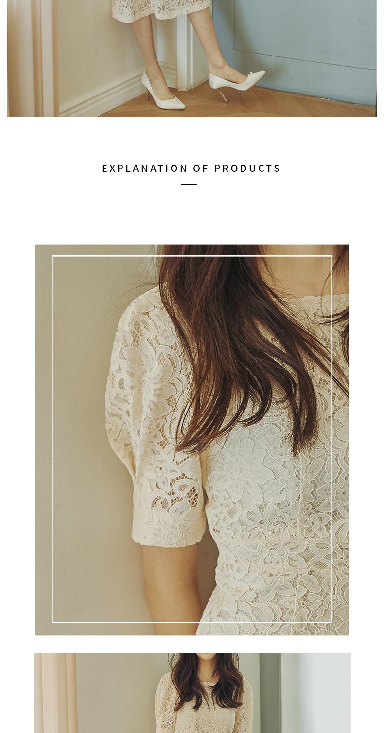 Bai Luoan cổ áo đầm ren nữ mùa hè mới dài tay cao thắt lưng váy khí eo lớn swing váy