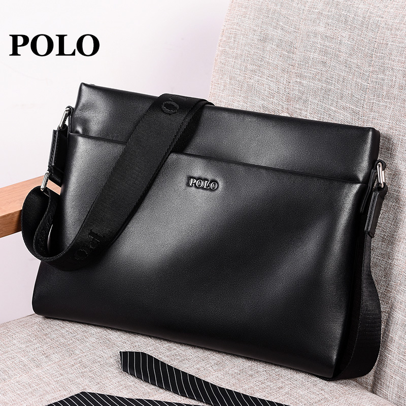 35dfe4f6c73 Polo men s shoulder bag leather bag first layer of leather cross section  simple fashion trend messenger