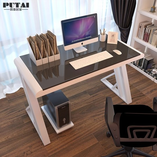 Computer desk home simple desk single Internet cafe game table tempered glass table table emanate table chair combination