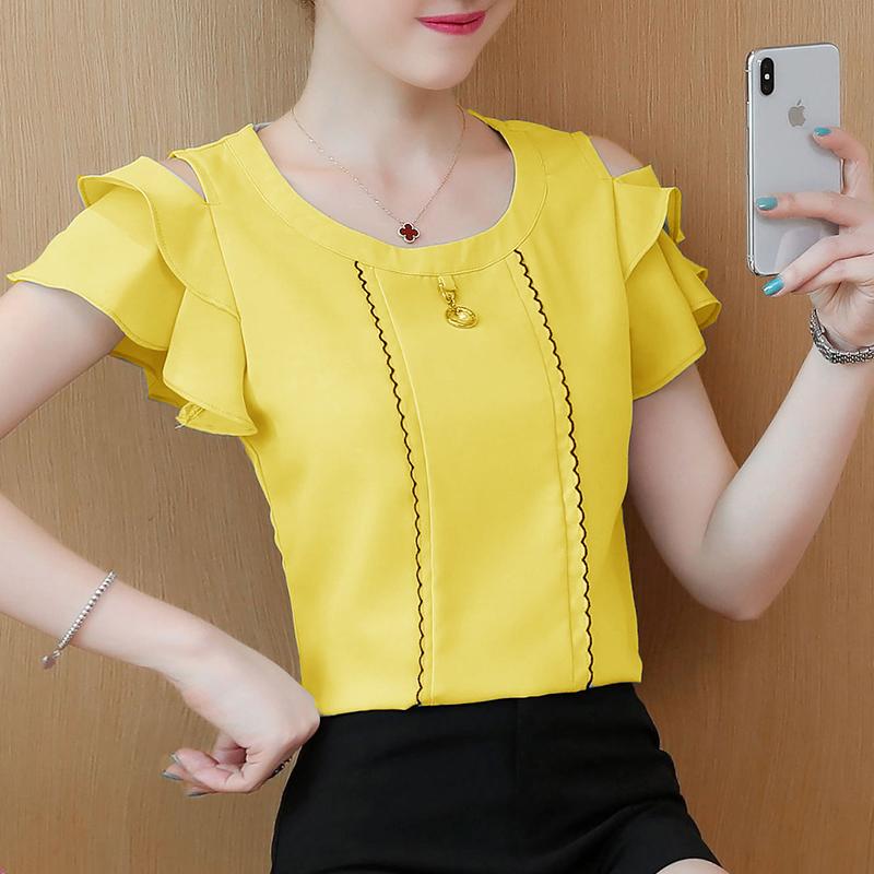 2019夏装新款韩版宽松显瘦短袖露肩荷叶边甜美雪纺衫超仙女上衣服