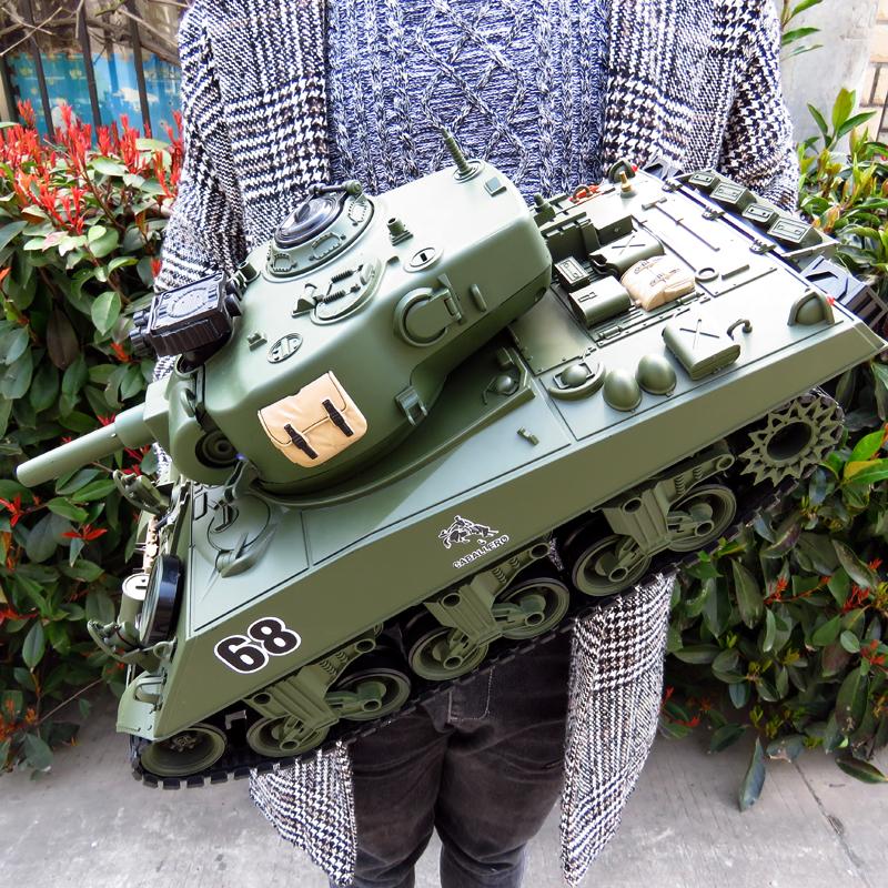 谢尔曼发射坦克车可遥控坦克玩具男孩军事模型儿童礼物电动生日
