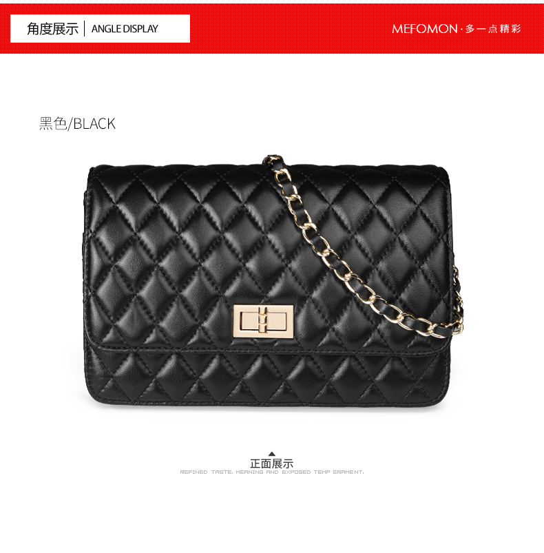 Korea  Lambskin Handbag Genuine Sheepskin Leather Women Pattern Chain Bag