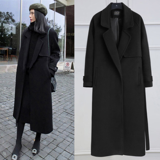 Anti-season clearance double-faced cashmere woolen coat female long section 2019 new student thick Hefeng wind woolen coat