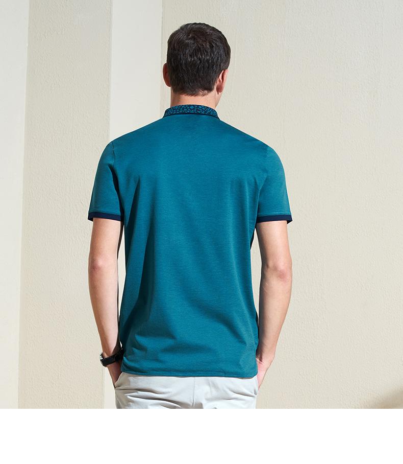 VICUTU Nam Ngắn Tay Áo Cotton Silk Blend T-Shirt Kinh Doanh Bình Thường Ve Áo Màu Rắn Ve Áo T-Shirt