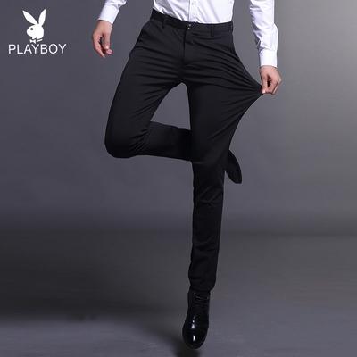 Playboy nam quần thẳng Slim thanh niên đàn hồi kinh doanh feet phần mỏng phù hợp với quần nam mùa hè