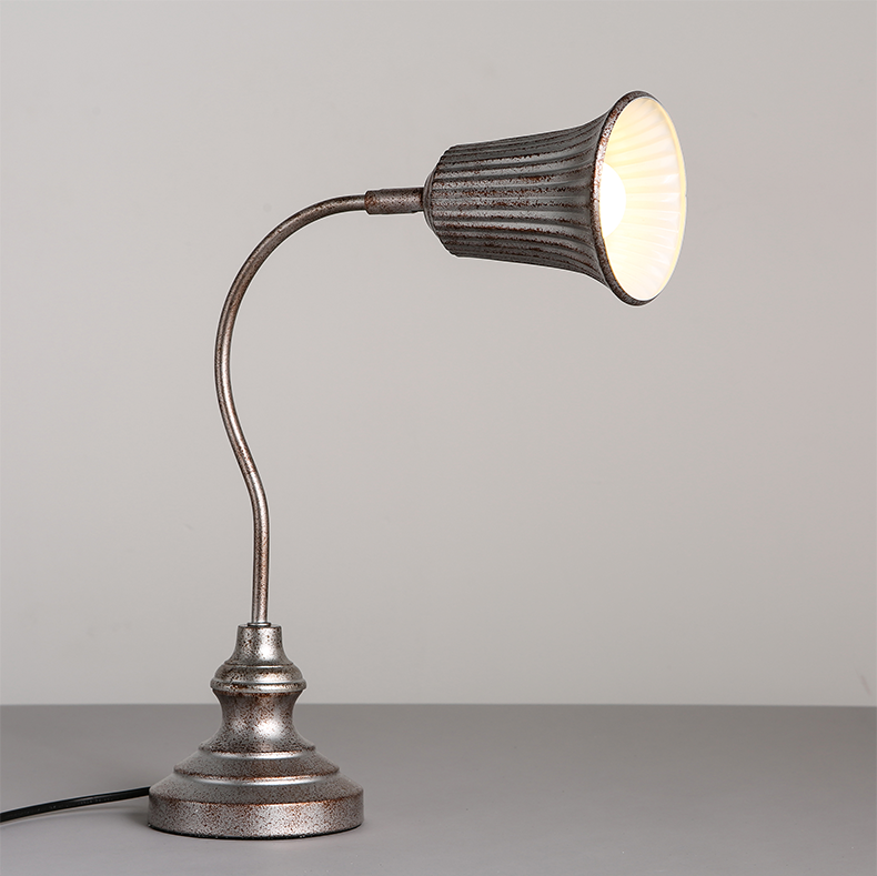 Vintage Gooseneck Antiqued Task Table / Desk Lamp Loft E27 ...