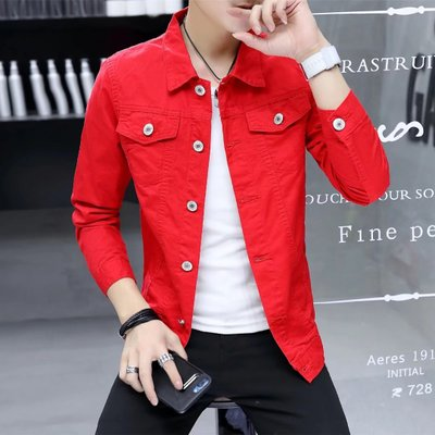 Happy Red Gaudi bless card Qi with the jacket men Korean version of the trend of denim jacket red gown